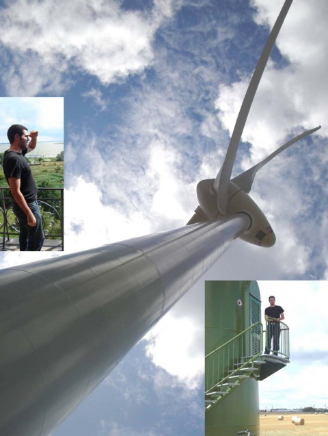 "The E-70 wind turbine ENERCON at the Baltic Coast in Mecklenburg - Wow ...-Great ...- That's Germany!""    (2 MW class Rotor diameter:71 m) Internship in Mecklenburg. Ghassan T. Salman (graduate in environmental engineering from Baghdad) in Ribnitz-Damgarten. Study preparation for the university Wismar. July 15, 2008"